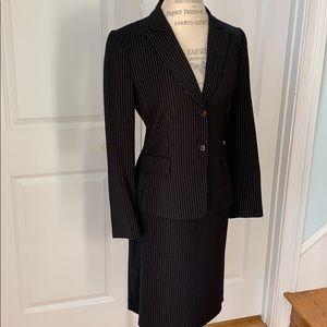 Tahari black pinstripe suit
